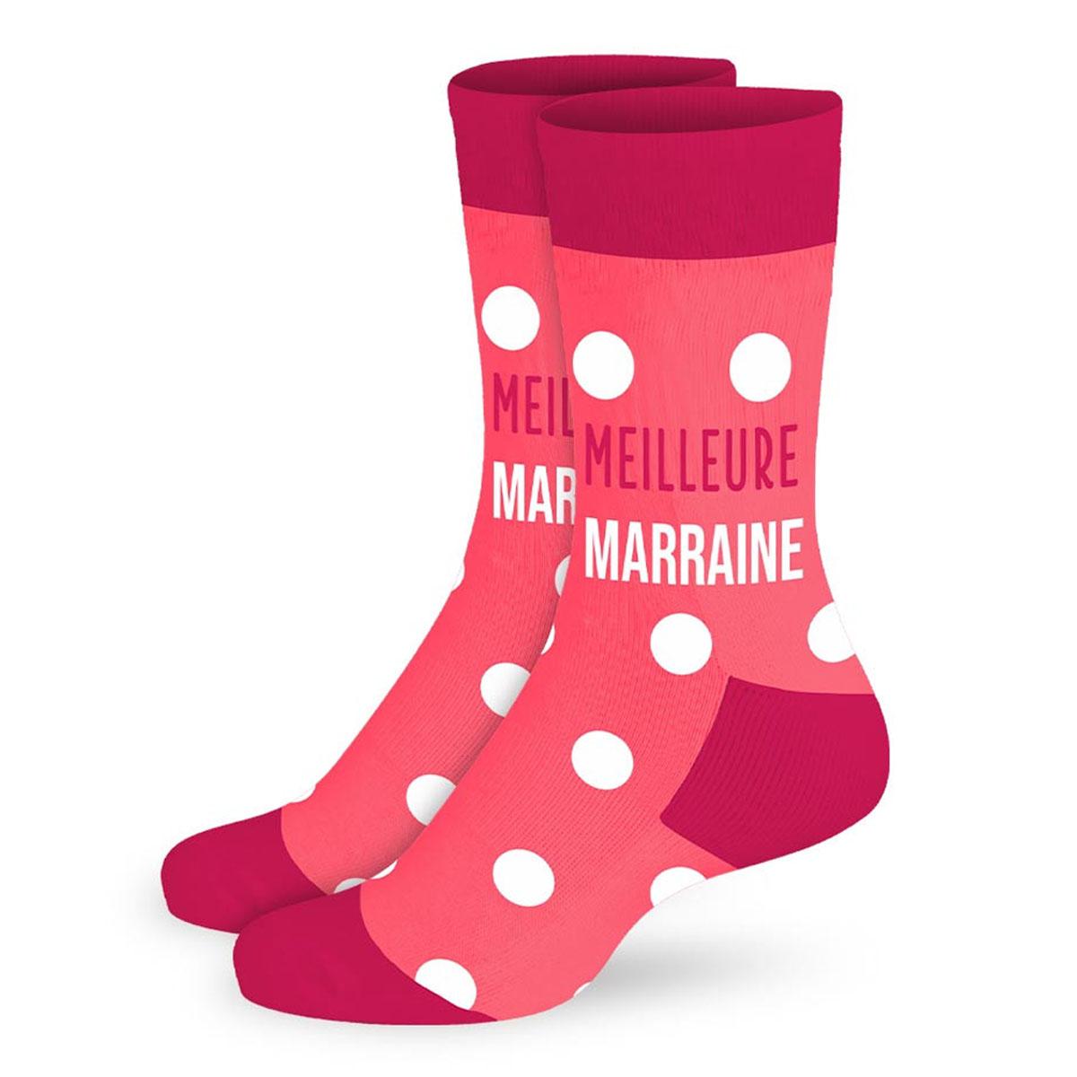 Chaussettes coton tendresse \'Meilleure Marraine\' rose pois - taille unique - [A2705]