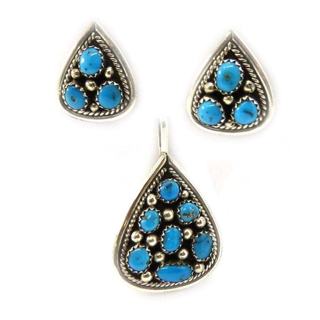 Parure Argent \'Navajos\' Turquoise  - [E5538]