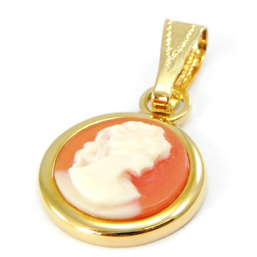 Pendentif Plaqué Or \'Camée\' Orange doré - 15 mm - [F6718]