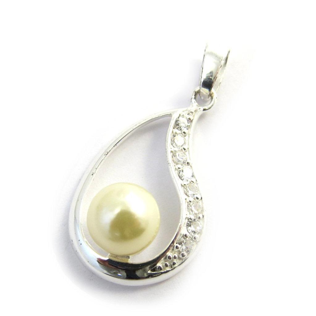 Pendentif Argent \'Pearl Beauty\' blanc - [G1620]