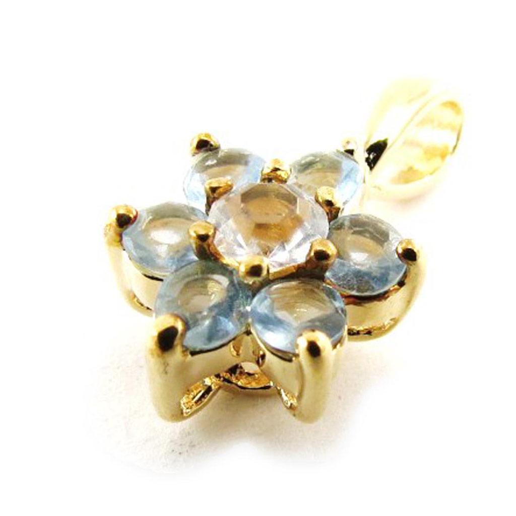 Pendentif Plaqué Or \'Fleur de Cristal\' aquamarine - [G1670]