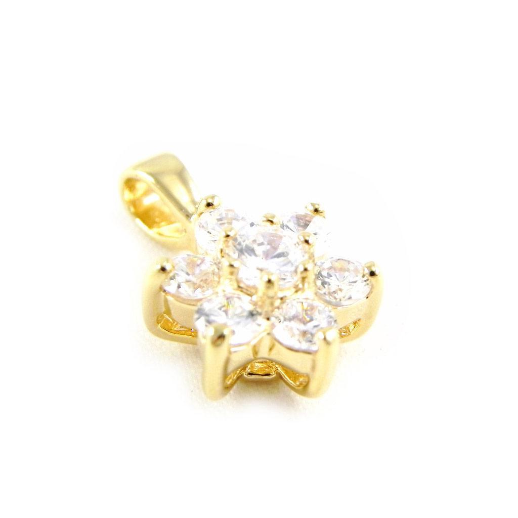 Pendentif Plaqué Or \'Fleur de Cristal\' blanc - [G1703]