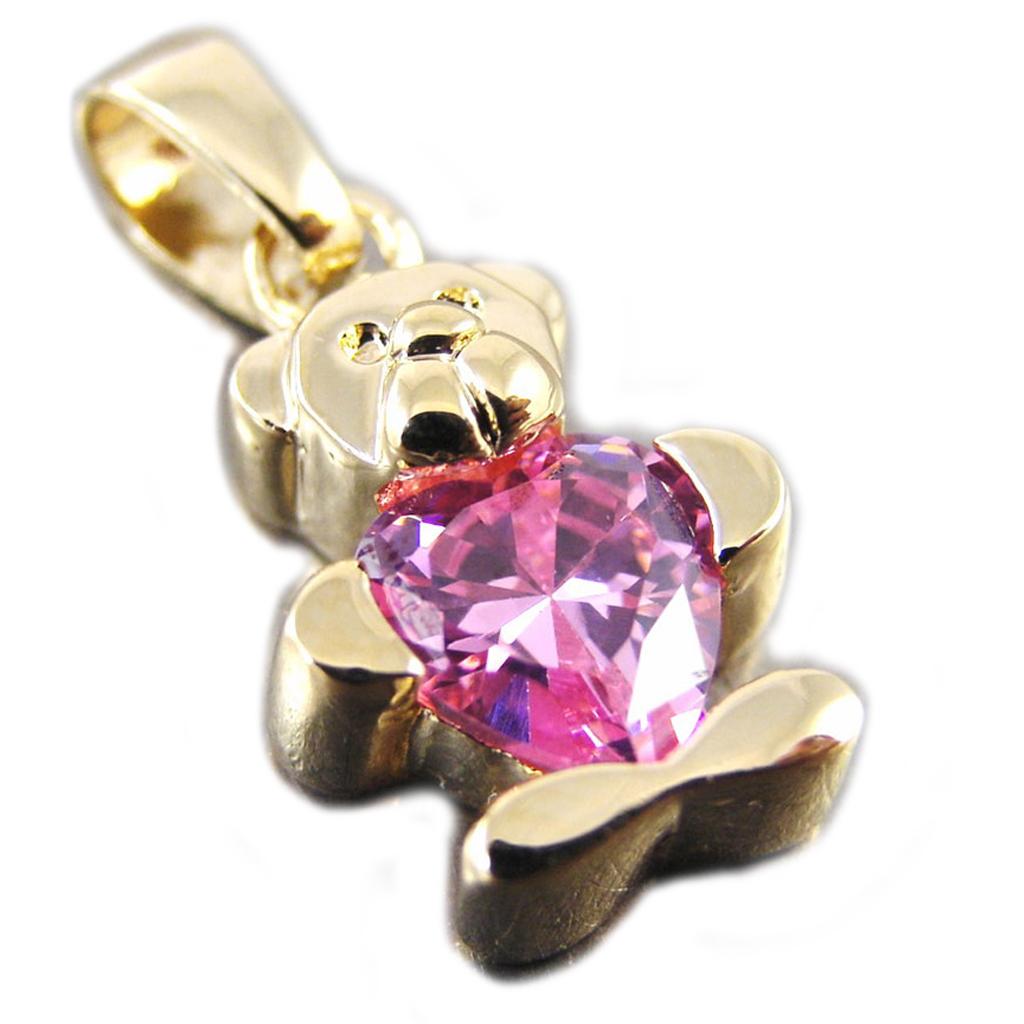 Pendentif Plaqué Or \'Teddy Love\' rose - [G1710]