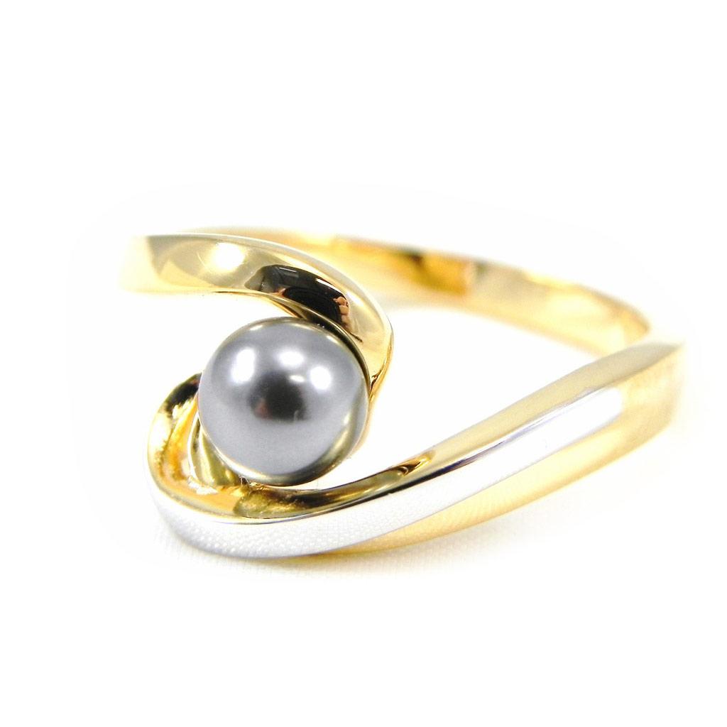 Bague \'Pearl Beauty\' Gris doré - [G2514]
