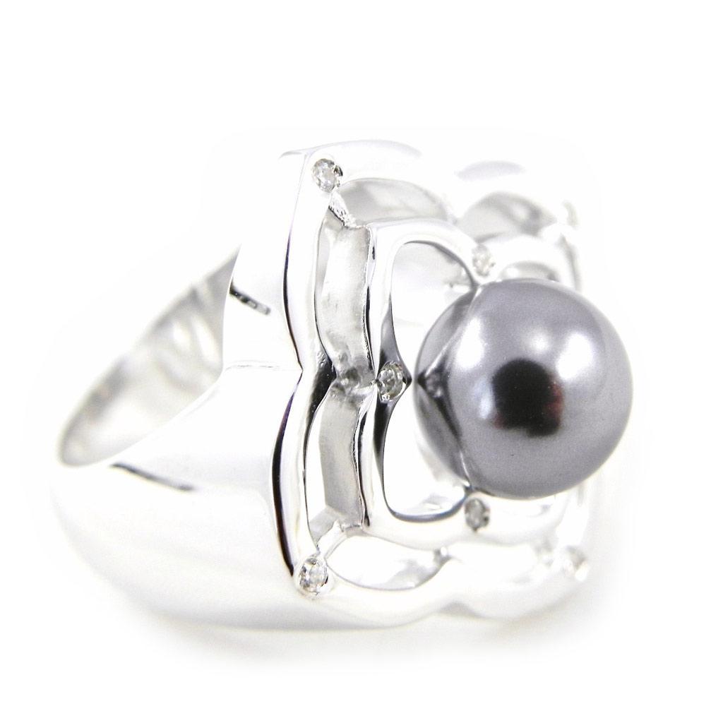 Bague \'Pearl Beauty\' gris argenté - [H3293]