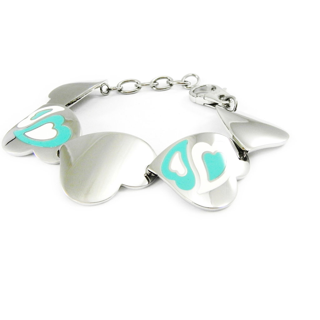 Bracelet acier \'Calypso\' love turquoise - [I2894]