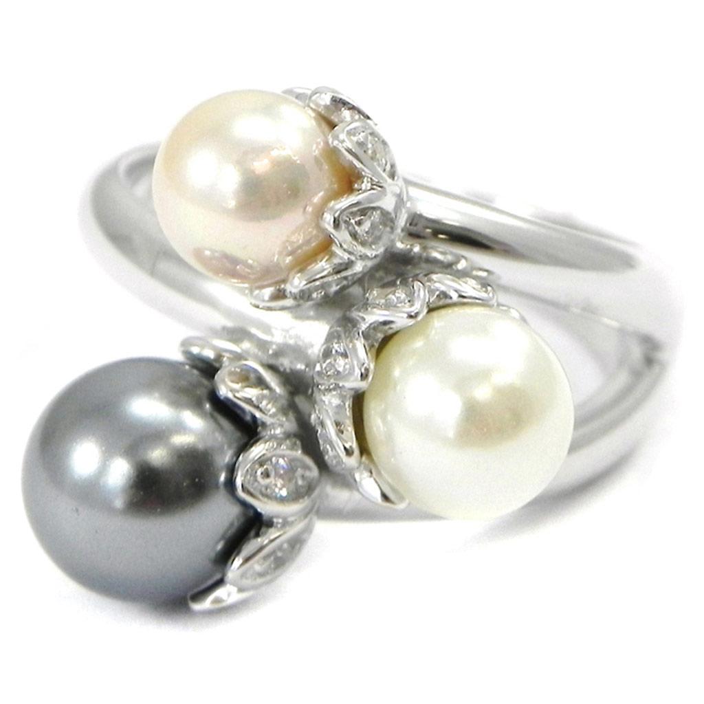 Bague \'Pearl Beauty\' gris blanc rose - [I3230]