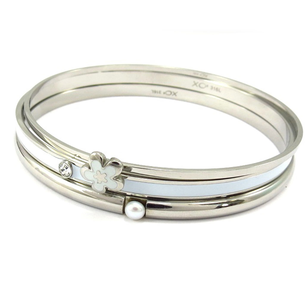 Bracelet acier \'Calypso\' blanc (fleur) - [K6004]
