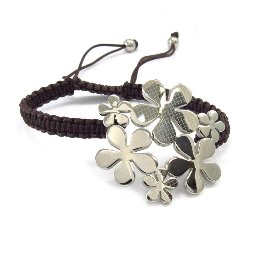 Bracelet acier \'Flora\' marron - [K6007]