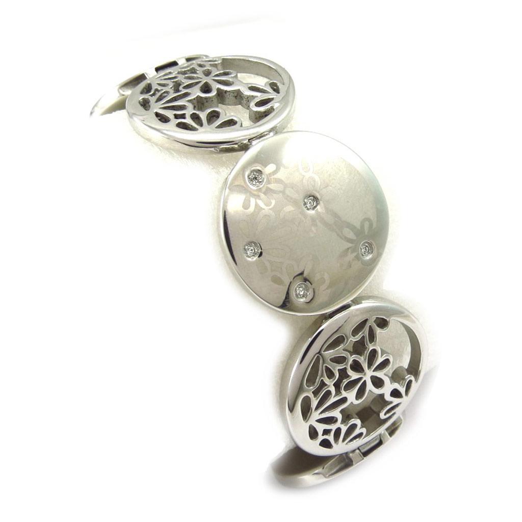 Bracelet acier \'Calypso\' argenté (fleur) - [K6012]