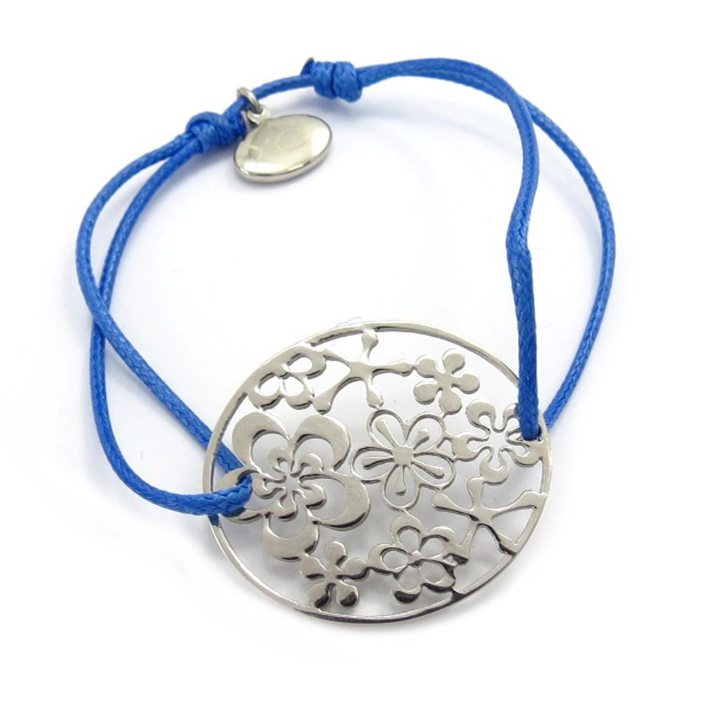 Bracelet acier \'Flora\' bleu - [K6015]