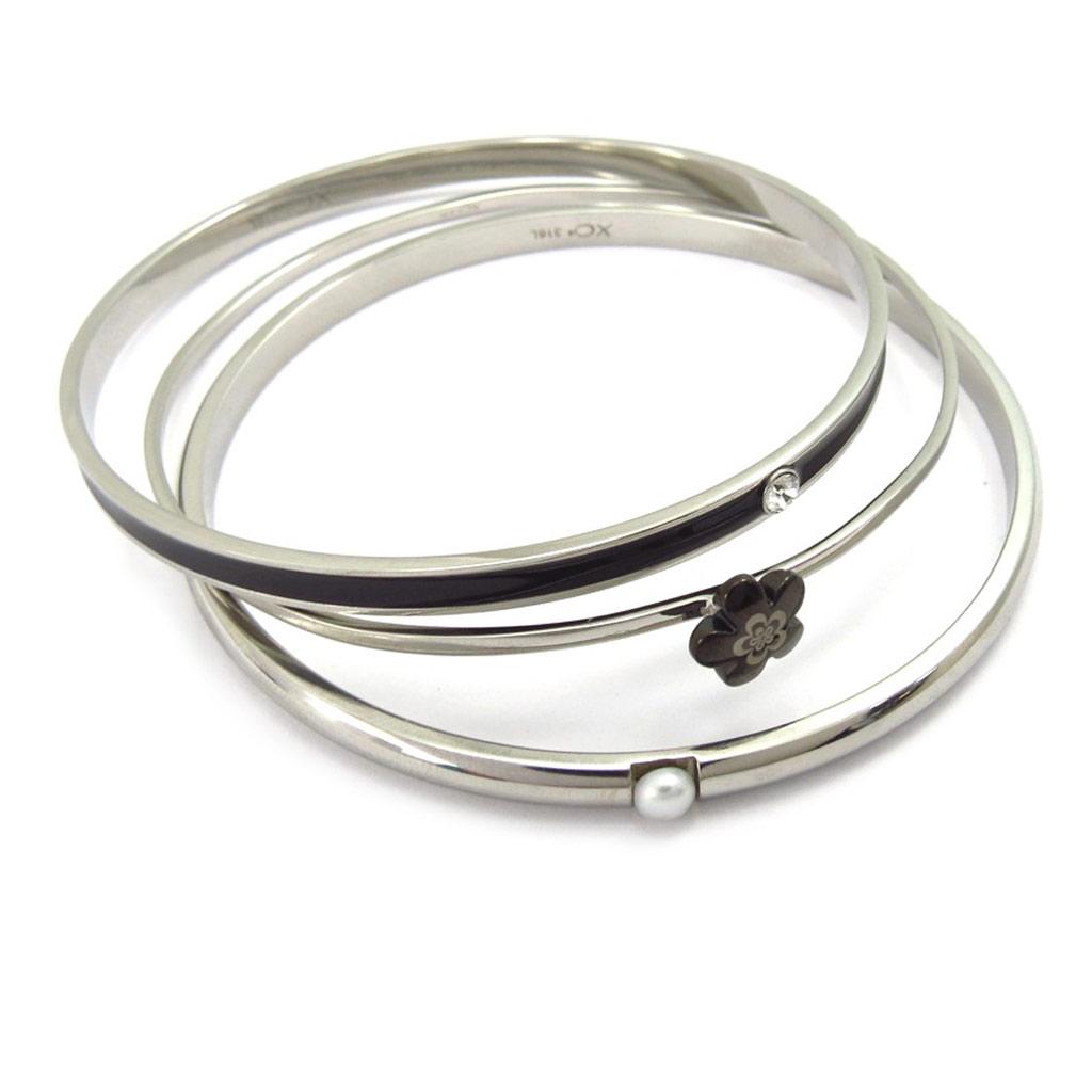 Bracelet acier \'Calypso\' noir (fleur) - [K6018]