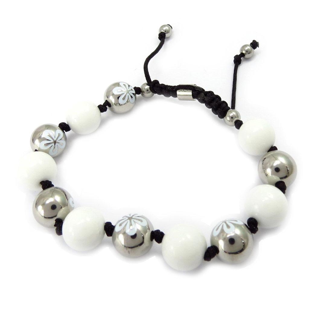 Bracelet acier \'Calypso\' blanc (fleur) - [K6021]