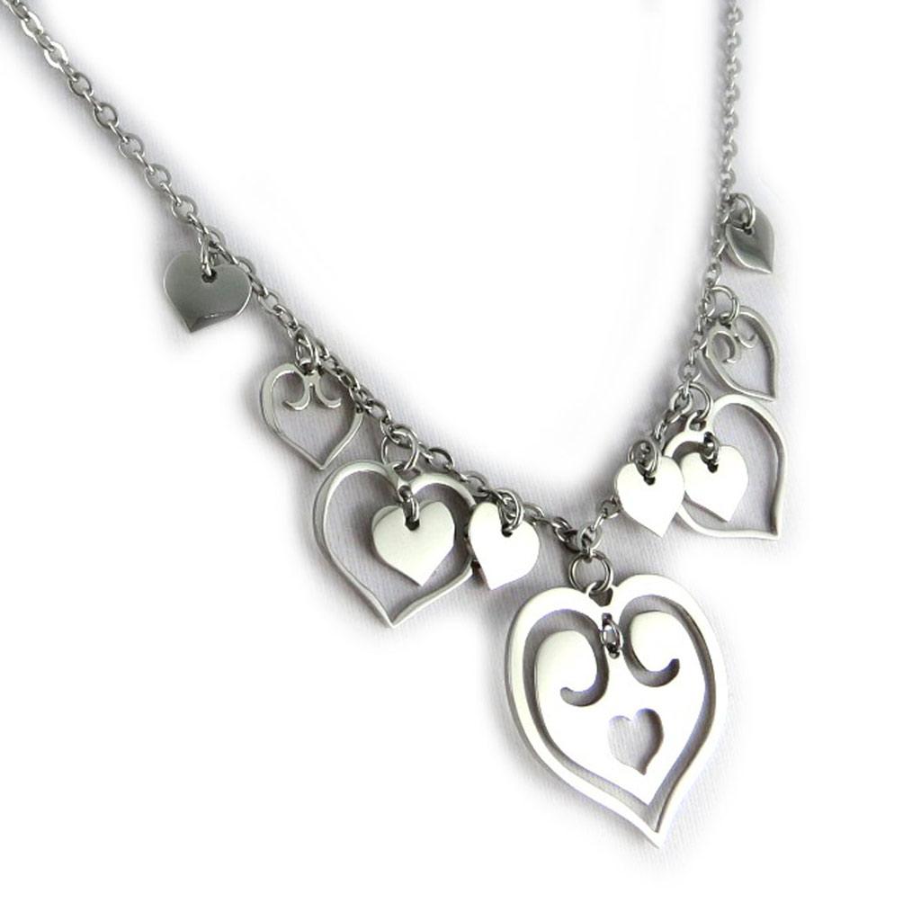 Collier acier \'Love\' argenté - [L0373]