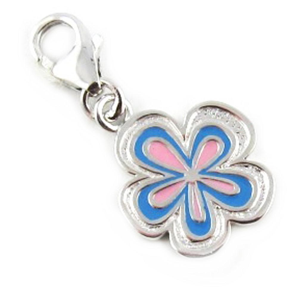 Pendentif charm argent \'Flora\' bleu - [L1679]