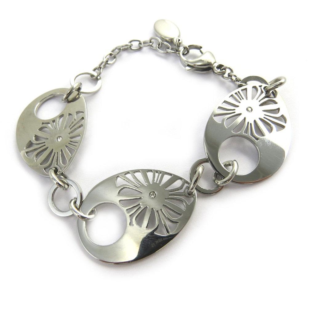 Bracelet acier \'Calypso\' argenté (flora) - [M7200]