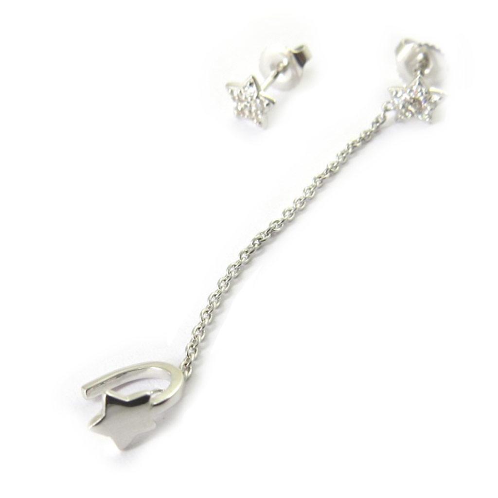 Boucle bague oreille argent \'Etoile\' blanc - [M7231]