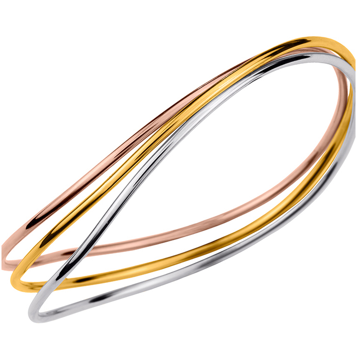 Bracelet plaqué or \'Chorégraphie\' 3 tons - 65 cm 3 rangs - [N0677]