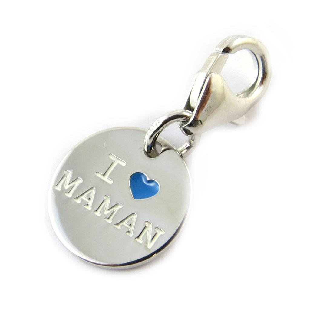 Pendentif charm argent \'Je t\'Aime Maman\' bleu - [N3257]