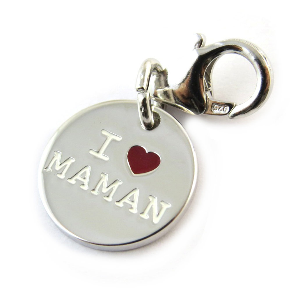 Pendentif charm argent \'Je t\'Aime Maman\' rouge - [N3258]