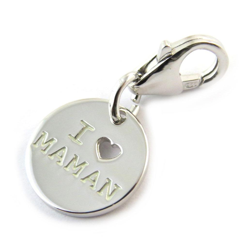 Pendentif charm argent \'Je t\'Aime Maman\' argenté - [N3259]