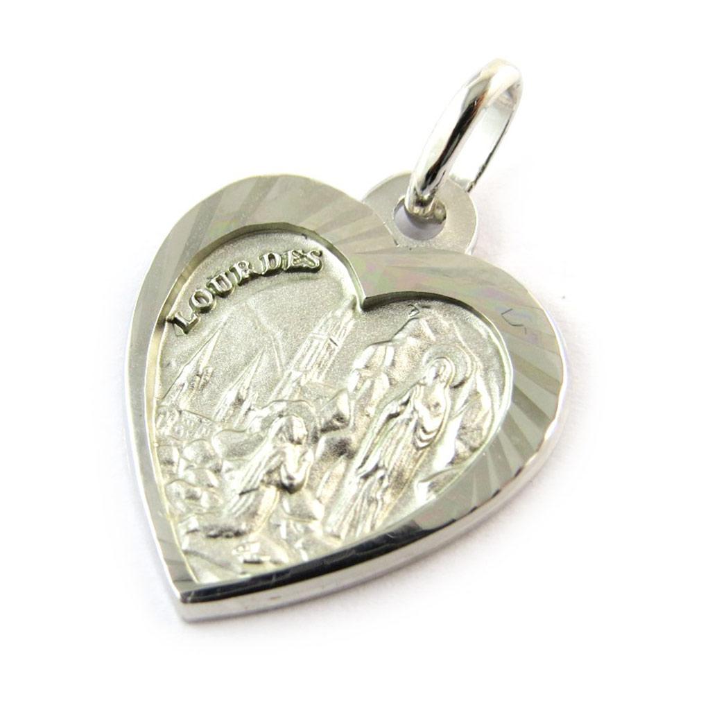 Pendentif argent \'Vierge Marie\' argenté (Notre-Dame de Lourdes) Coeur - [N3337]