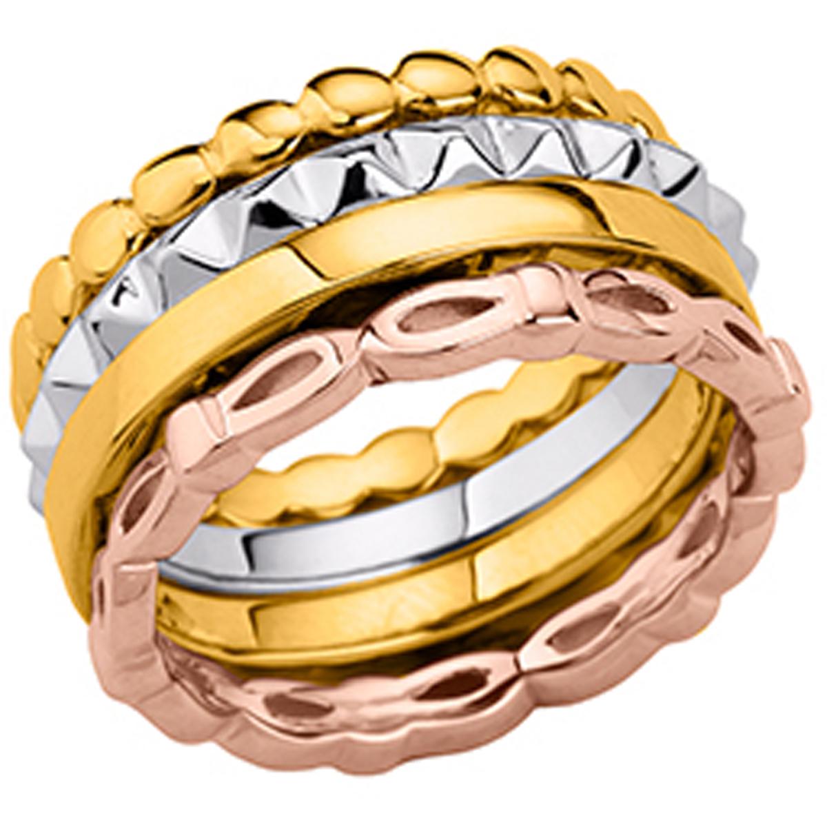 Bague argent \'Bagues Eternelles\' tricolore - 10 mm - [P0596]