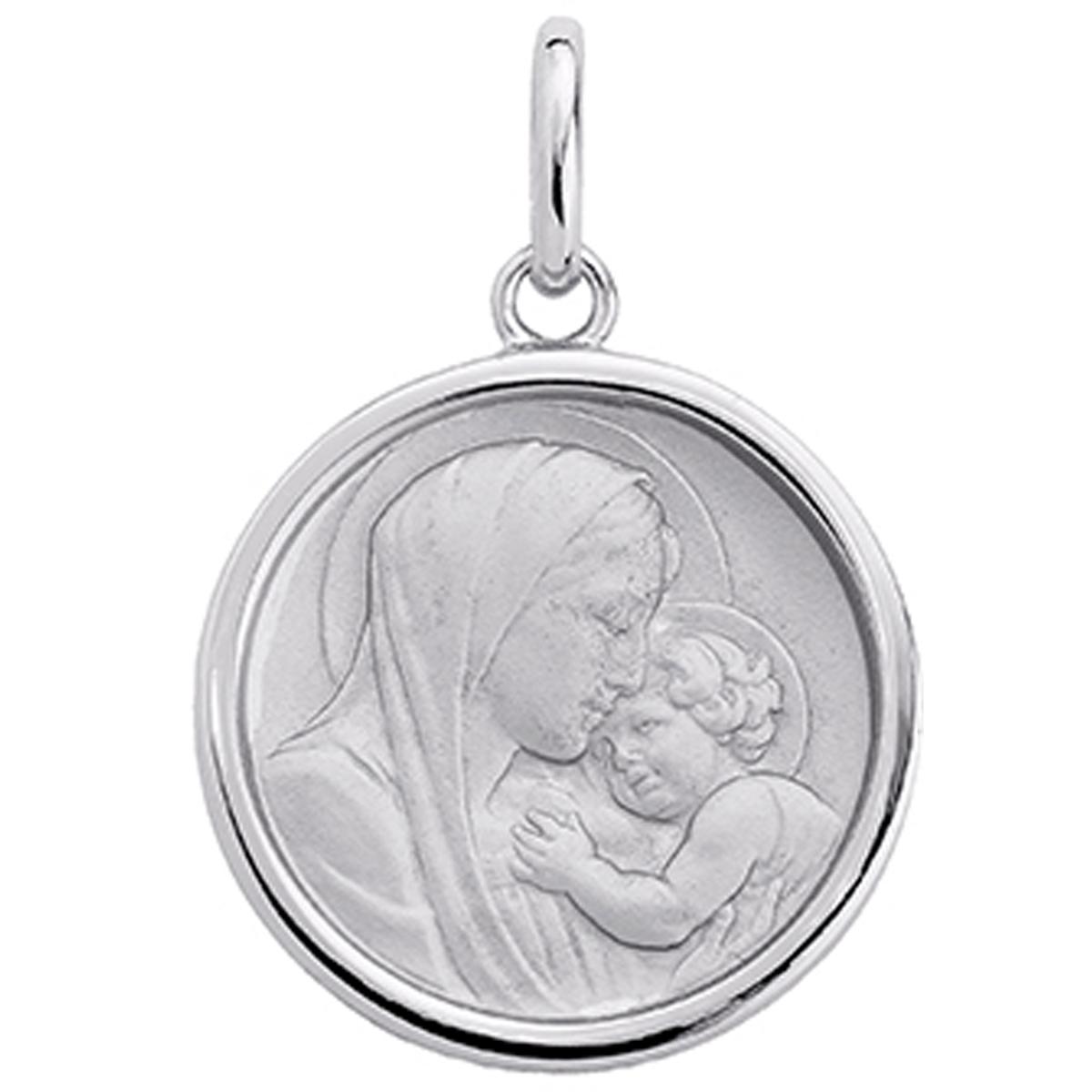 Pendentif argent \'Vierge Marie\' argenté (rhodié) - 18 mm - [P4397]