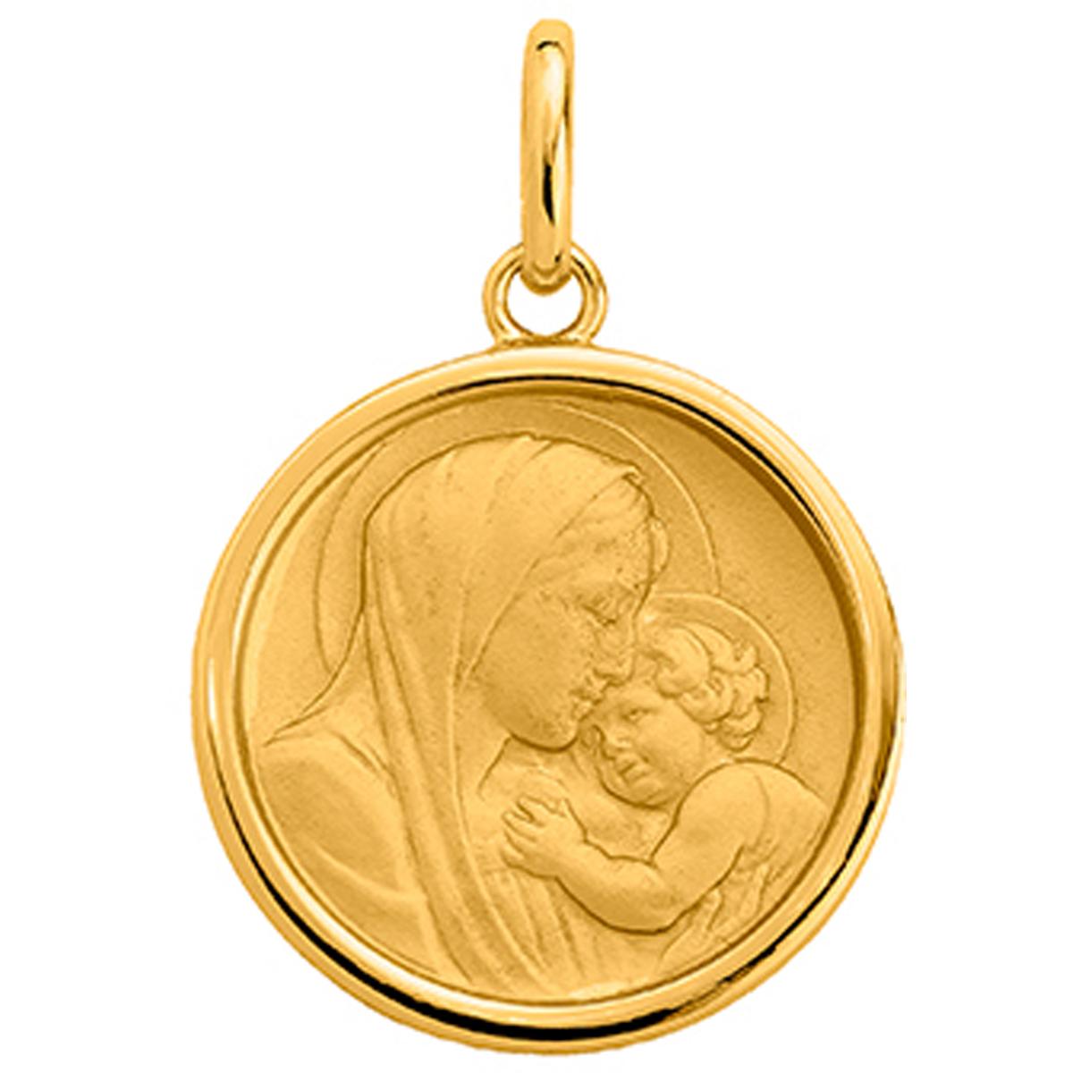 Pendentif plaqué or \'Vierge Marie\' doré - 18 mm - [P4398]
