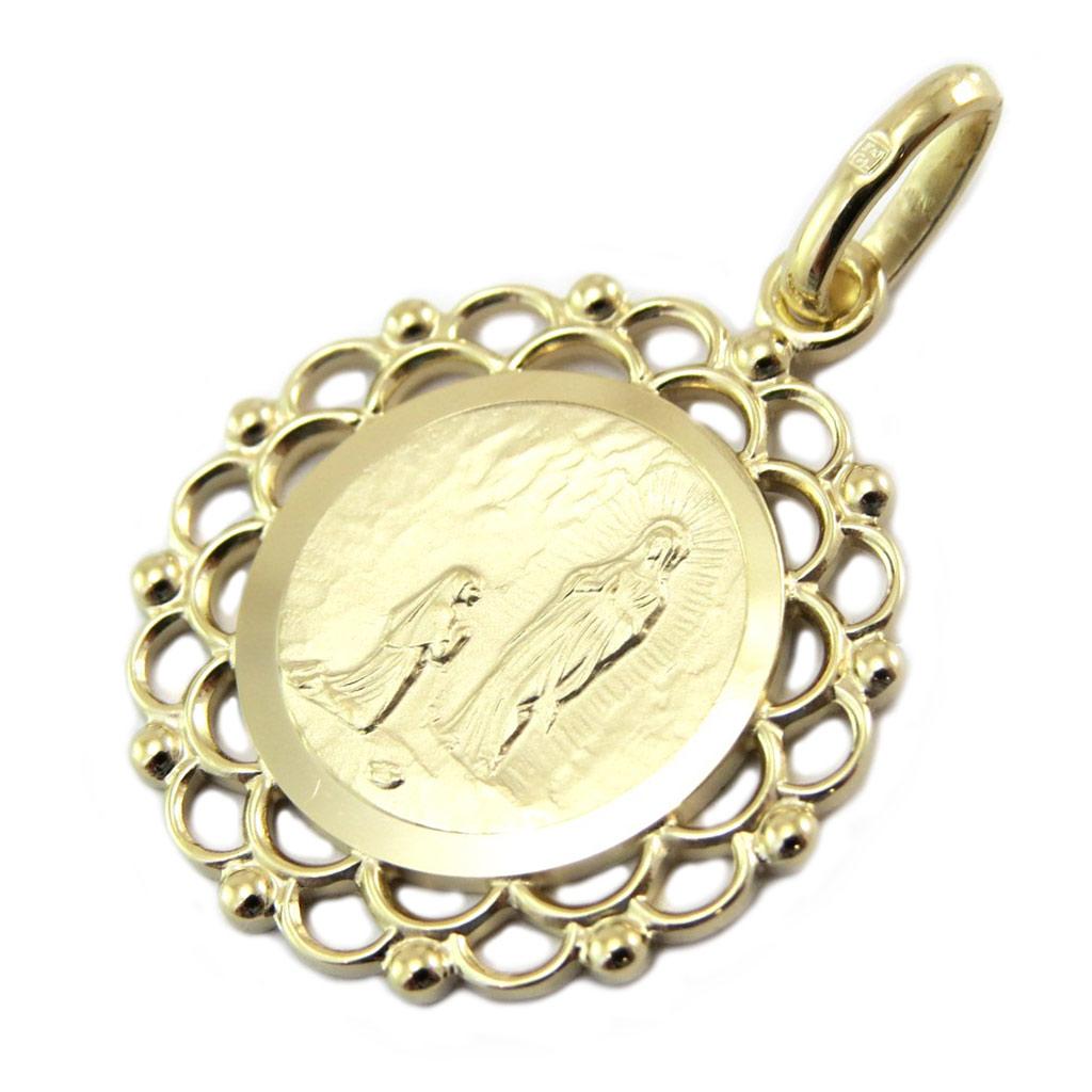 Pendentif Plaqué Or \'Vierge Marie\' doré (apparition) - 20 mm - [P4399]