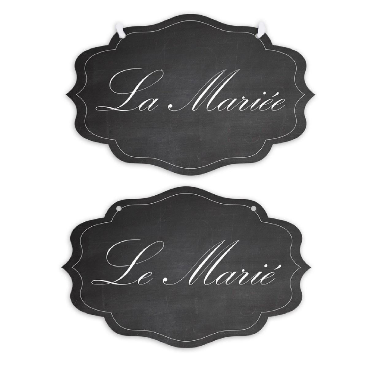 Marques Chaises \'Le Marié  La Mariée\' (spécial mariage) - 25x165 cm - [Q0294]
