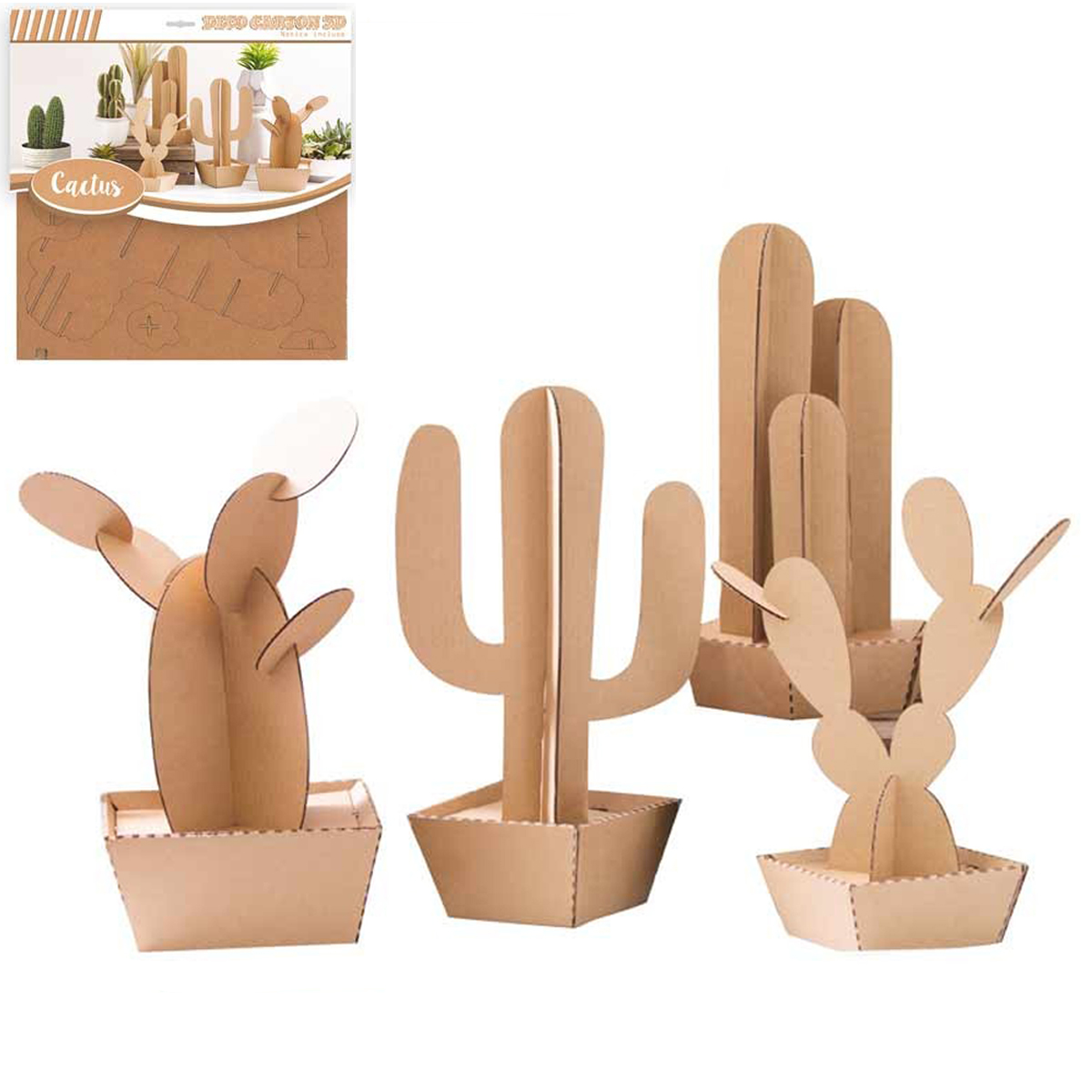 Figurine carton 3D \'Cactus\' - planches 30x305 cm - [Q3137]