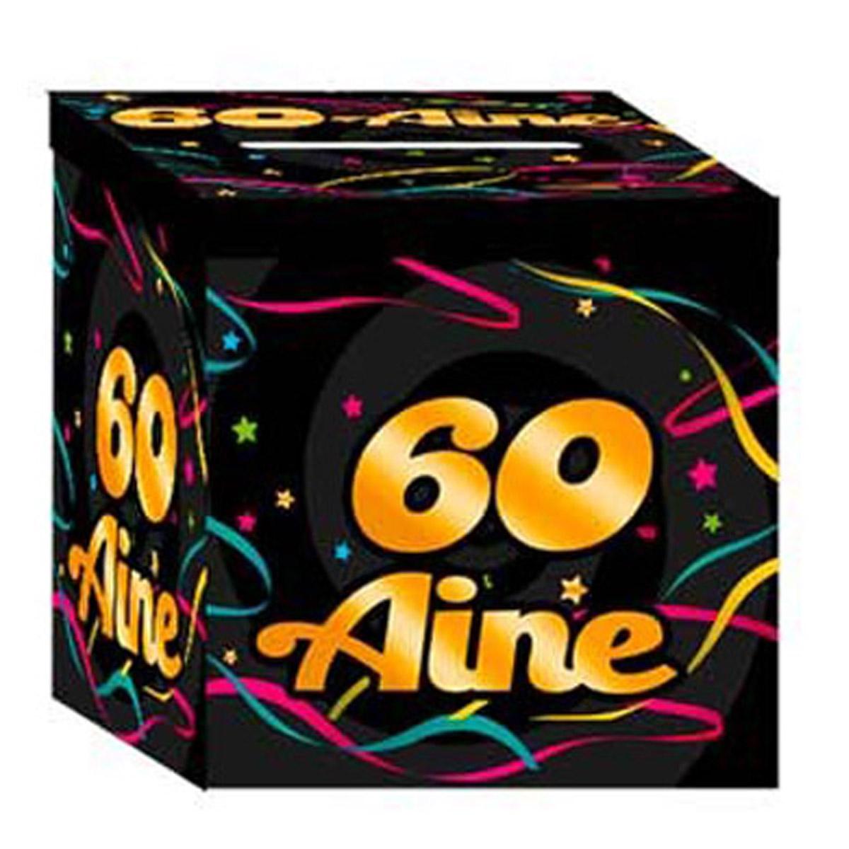 Urne anniversaire \'60 aine\' noir multicolore - 21x21x195 cm - [Q3549]