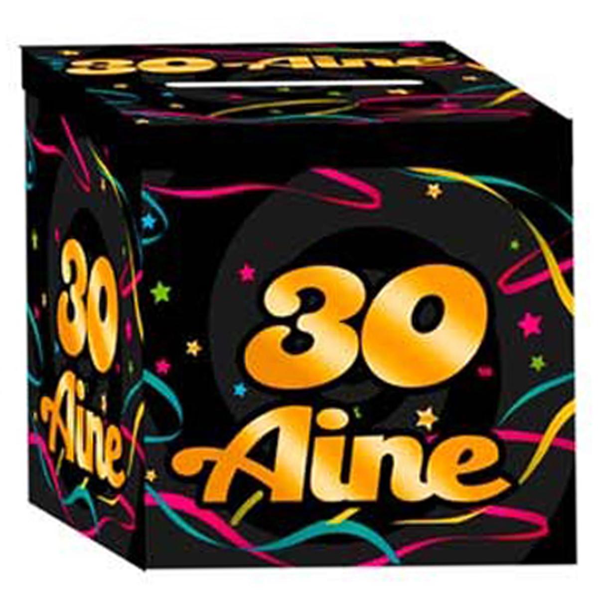 Urne anniversaire \'30 aine\' noir multicolore - 21x21x195 cm - [Q3649]