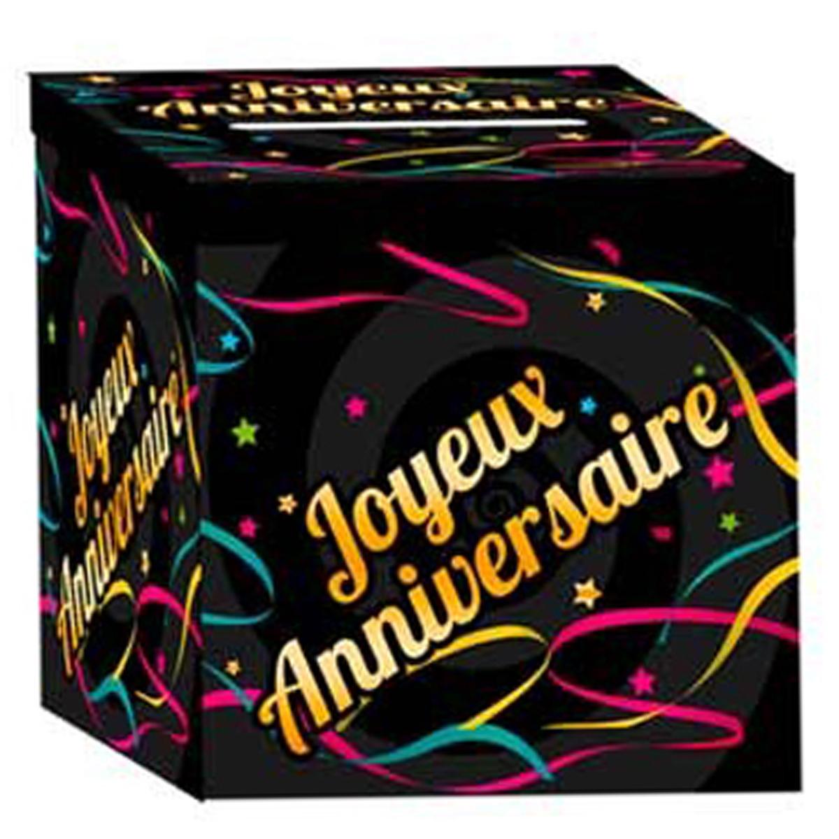 Urne \'Joyeux Anniversaire\' noir multicolore - 21x21x195 cm - [Q3651]