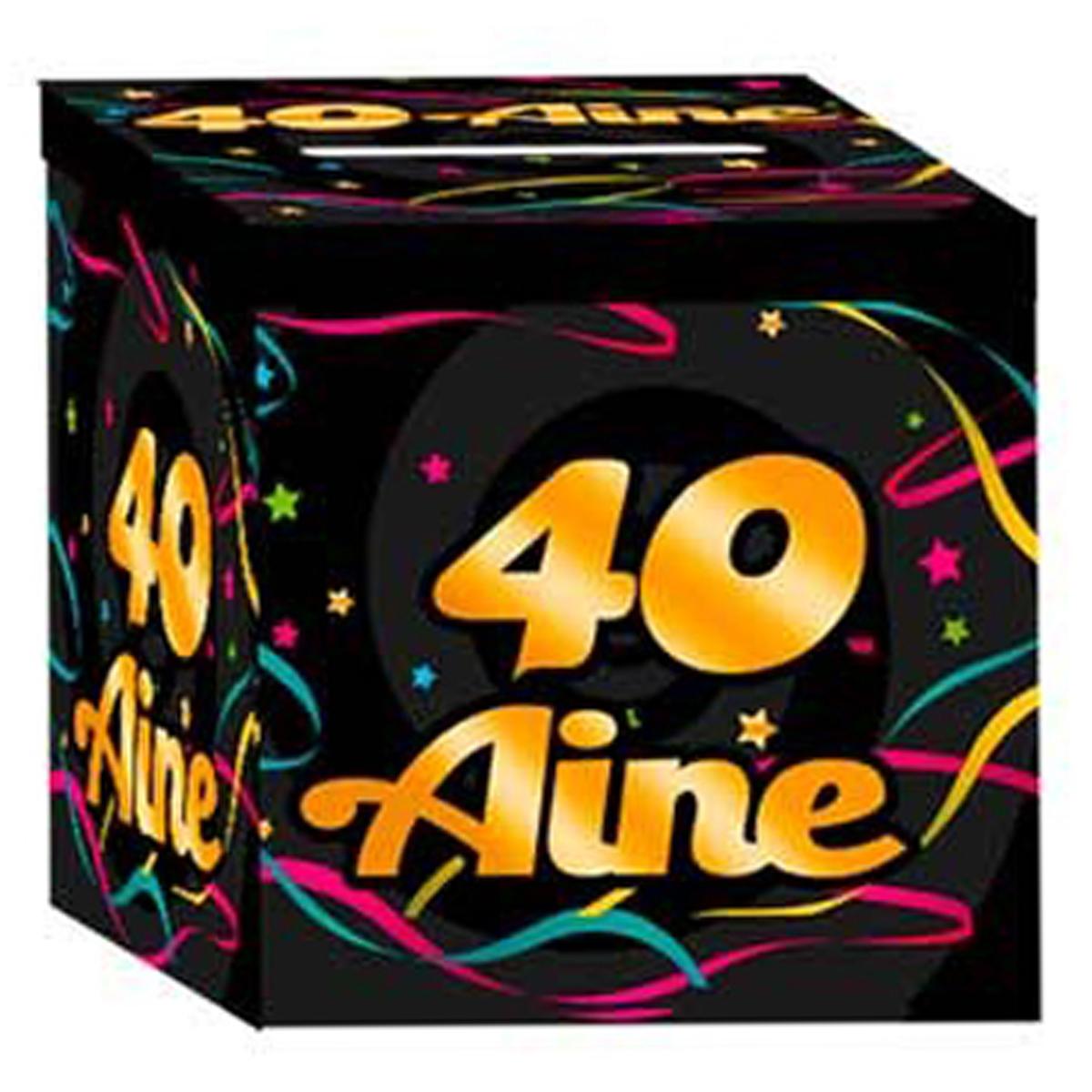 Urne anniversaire \'40 aine\' noir multicolore - 21x21x195 cm - [Q3652]