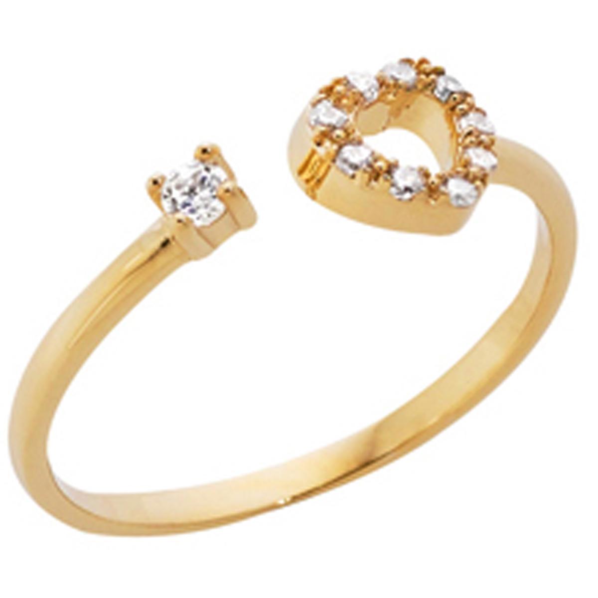 Bague plaqué or \'Love\' doré  (coeur) - 6x6 mm - [Q6018]