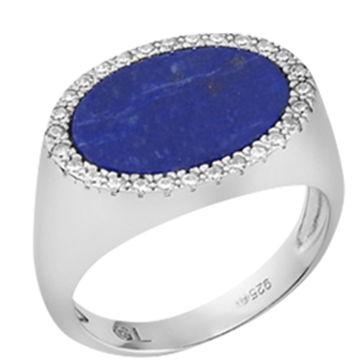 Bague argent \'Sissi\' bleu lapis lazuli blanc argenté (rhodié) - 18x13 mm - [Q7925]