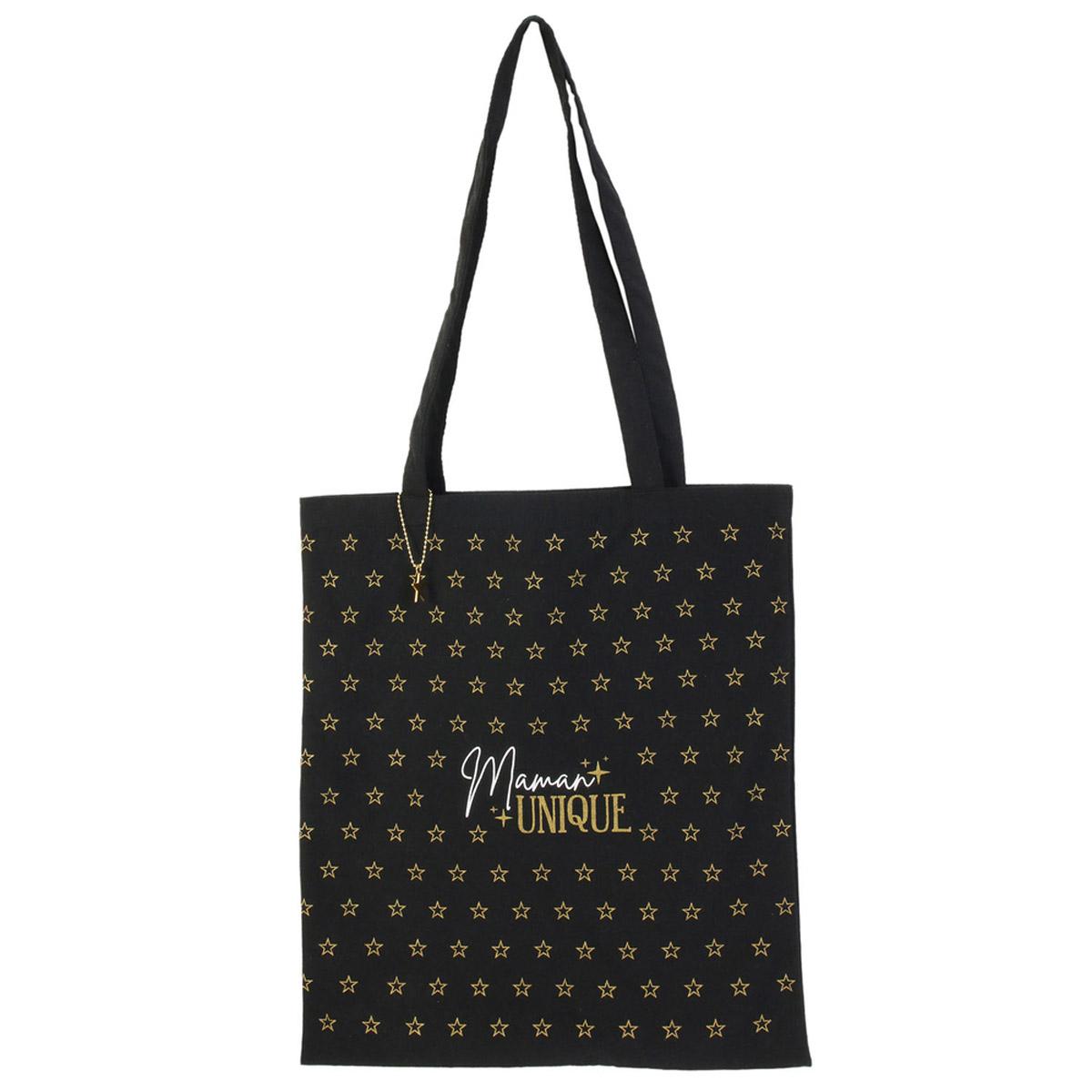 Tote bag \'Maman\' noir (maman unique) -  42x36 cm - [R2524]