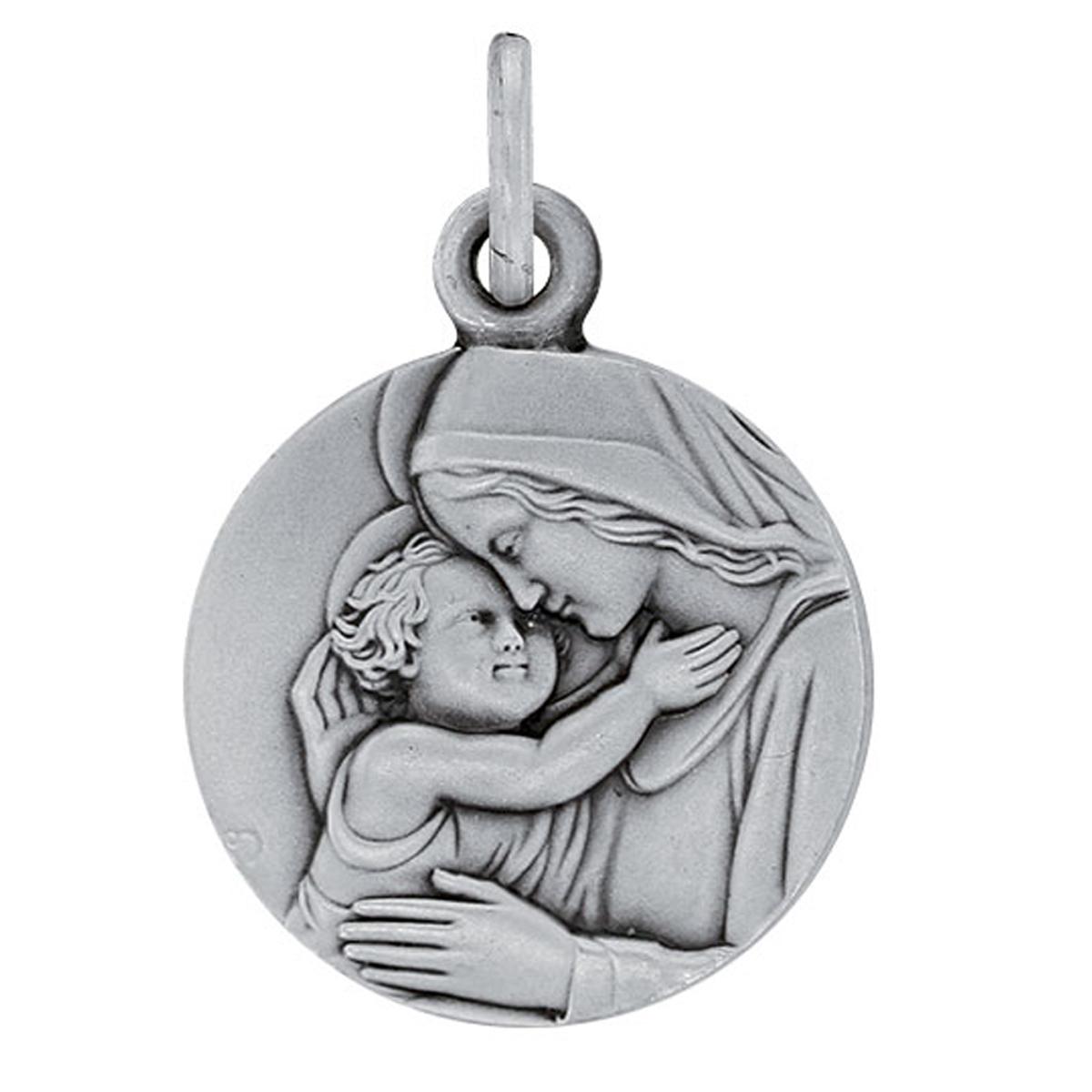 Pendentif argent artisanal \'Vierge Marie\' argenté (rhodié) - 15 mm - [R5039]