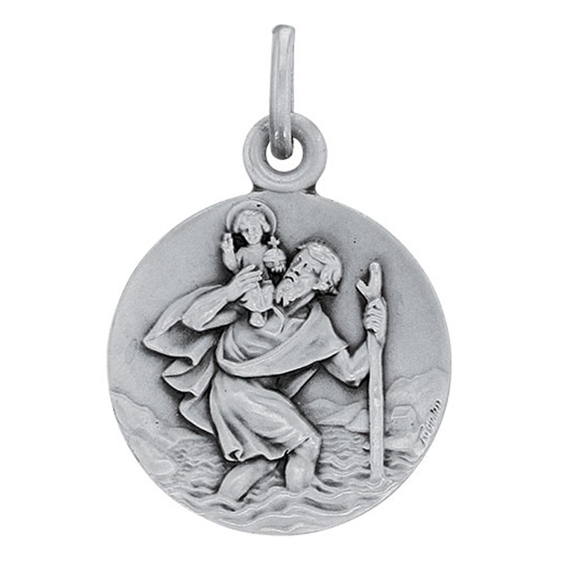 Pendentif argent artisanal \'Saint Christophe\' argenté (rhodié) - 18 mm - [R5040]
