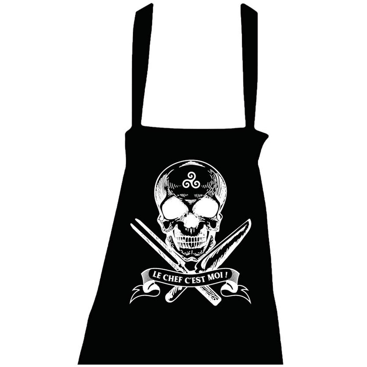Tablier coton \'Le Chef c\'est Moi !\' noir - taille unique (tête de mort, triskel) - [R5045]