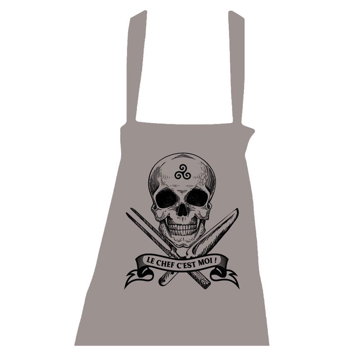 Tablier coton \'Le Chef c\'est Moi !\' gris - taille unique (tête de mort, triskel) - [R5046]