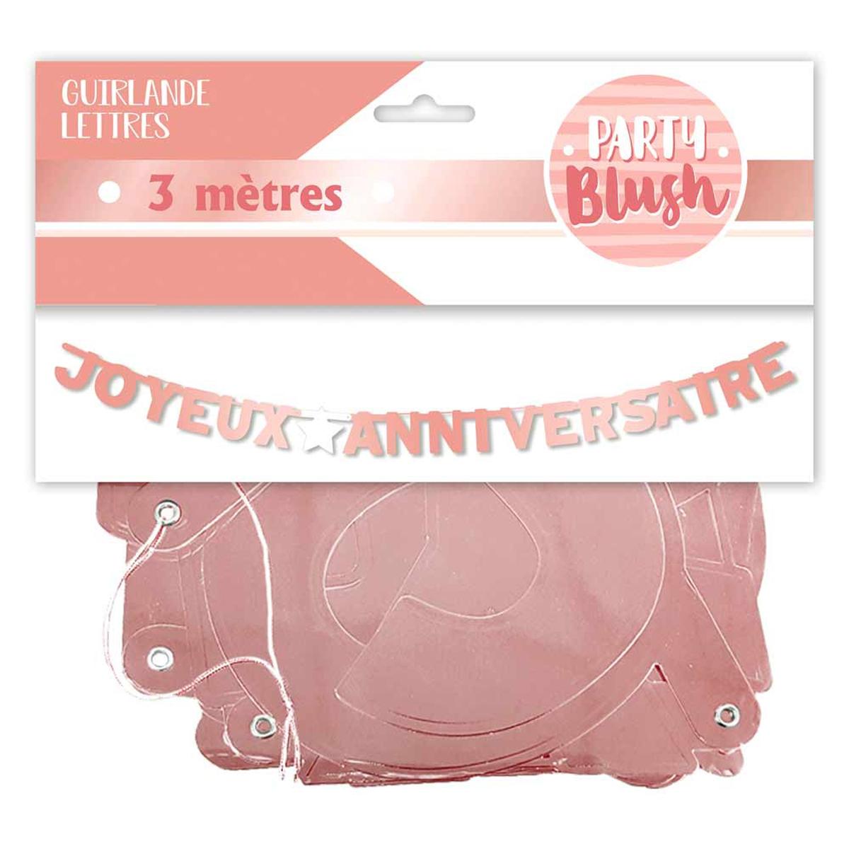 Guirlande \'Joyeux Anniversaire\' rosé (blush) - 3 m - [A0408]
