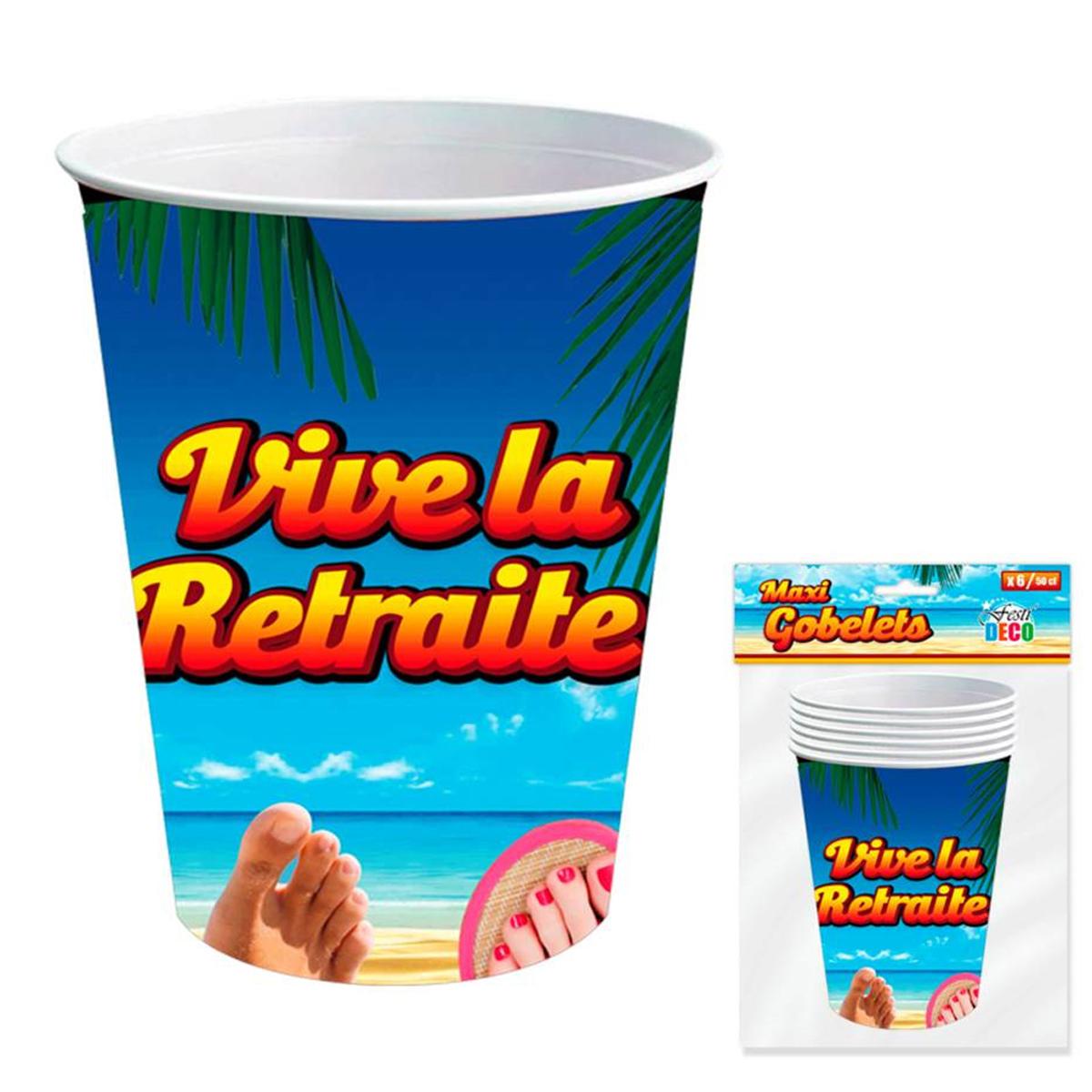 6 gobelets carton \'Vive la Retraite\' multicolore - 13x9 cm (50 cl) - [A0459]