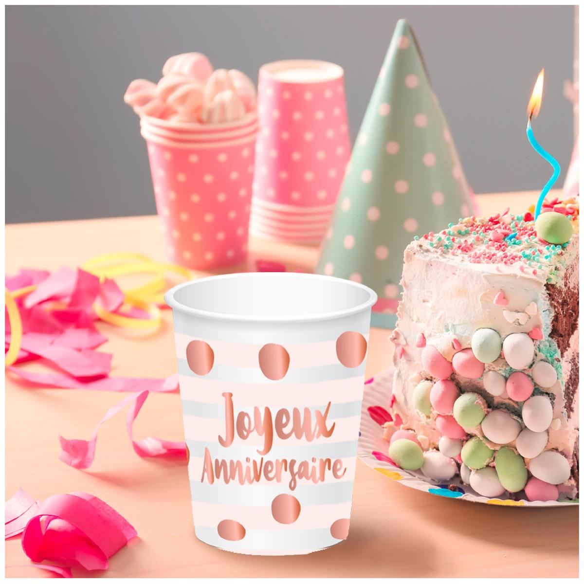 6 gobelets carton \'Joyeux Anniversaire\' blanc rosé (blush) - 85x75 mm (25 cl) - [A0762]