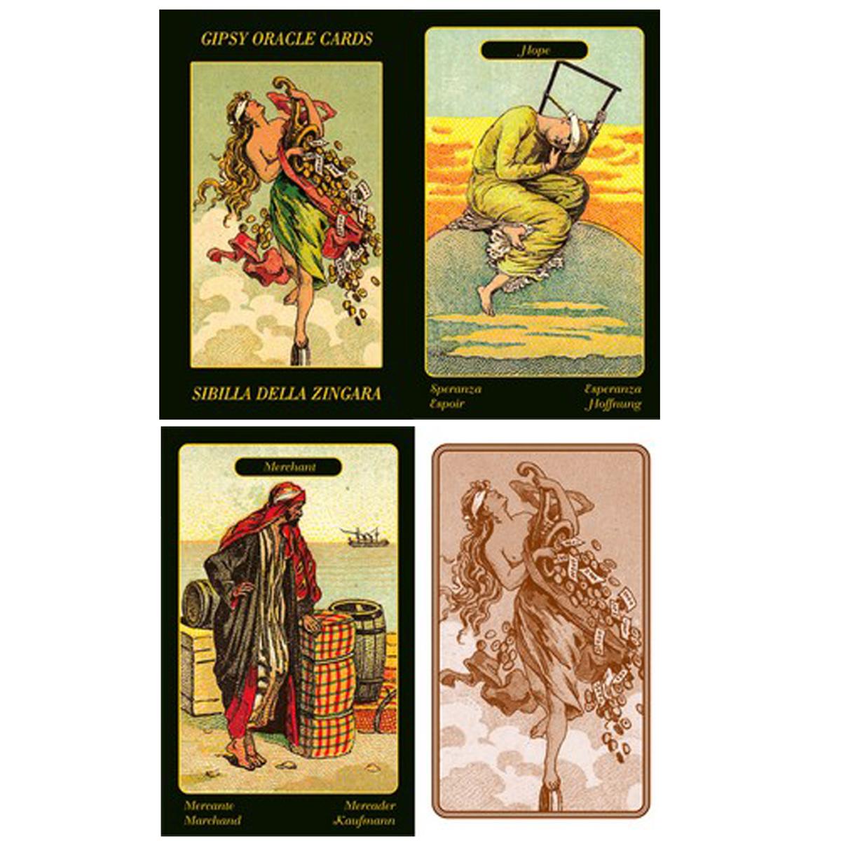 Cartes Oracles \'Sybille de la Bohémienne\' (Ouvrez la porte à la chance) - 10x6x2 cm - [A0942]