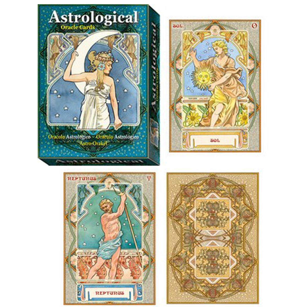 Jeu de cartes d\'inspiration \'Astrological Oracle\' bleu (oracles) - 135x10x3 cm - [A1270]