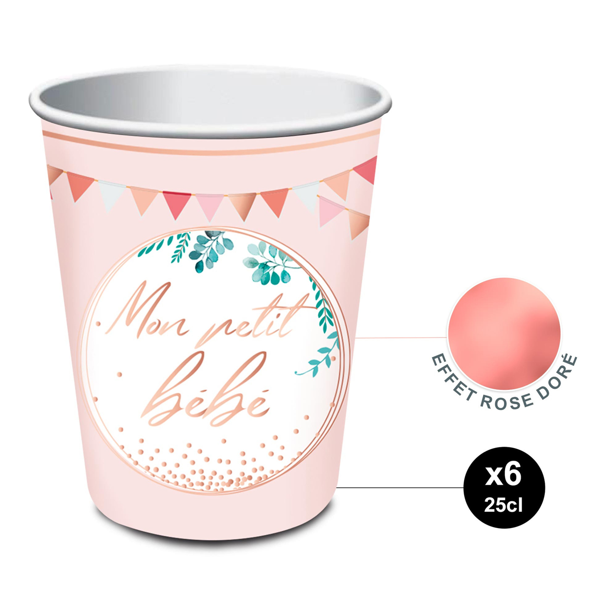 6 gobelets carton \'Baby Shower\' rose (mon petit bébé) - 85x75 mm (25 cl) - [A1527]
