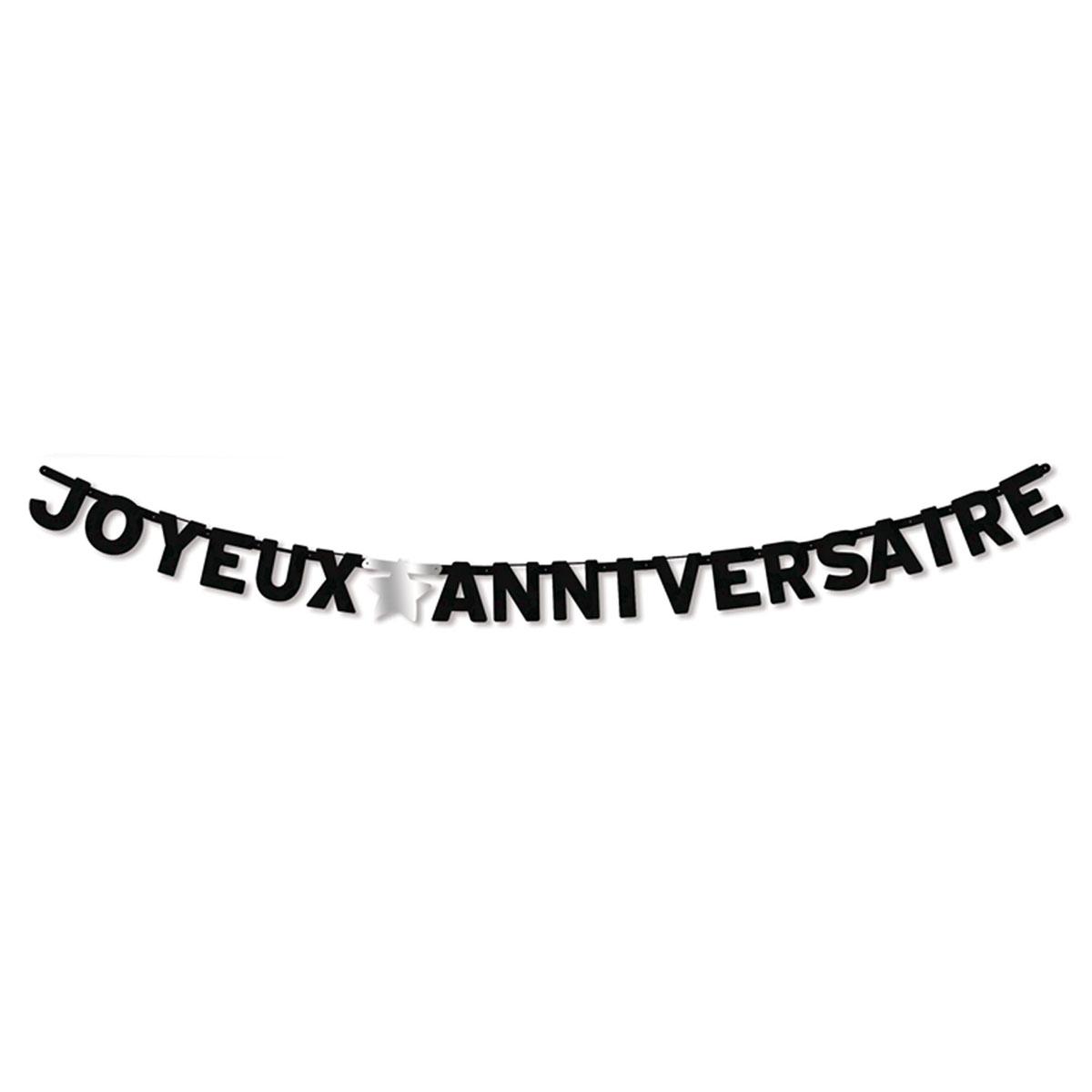 Guirlande \'Joyeux Anniversaire\' noir (original) - 3 m - [A2740]